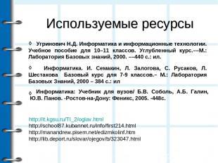 Используемые ресурсы ◊ ◊ http://it.kgsu.ru/TI_2/oglav.html http://school87.kuban