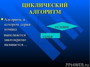 ЦИКЛИЧЕСКИЙ АЛГОРИТМ Алгоритм, в котором серия команд выполняется многократно на
