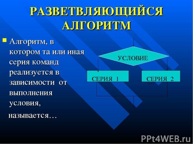 РАЗВЕТВЛЯЮЩИЙСЯ АЛГОРИТМ Алгоритм, в котором та или иная серия команд реализуется в зависимости от выполнения условия, называется… … СЕРИЯ 1 СЕРИЯ 2 УСЛОВИЕ