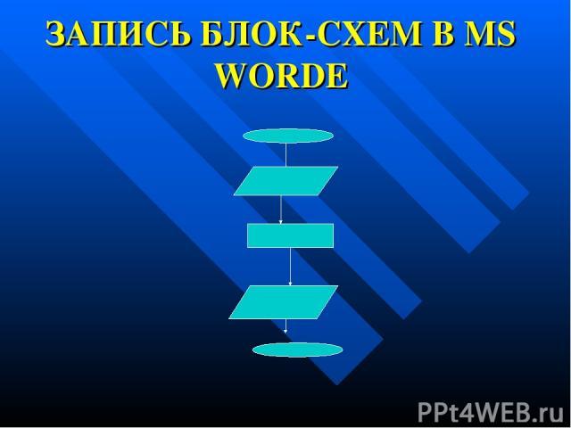 ЗАПИСЬ БЛОК-СХЕМ В MS WORDE