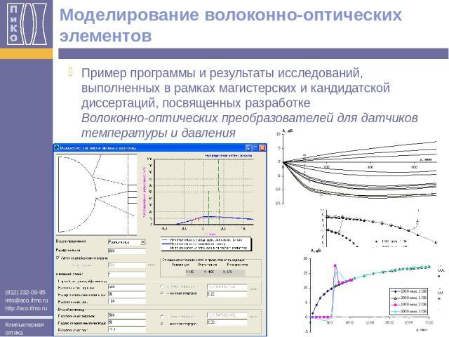 Моделирование волоконно-оптических элементов Пример программы и результаты исследований, выполненных в рамках магистерских и кандидатской диссертаций, посвященных разработке Волоконно-оптических преобразователей для датчиков температуры и давления (…