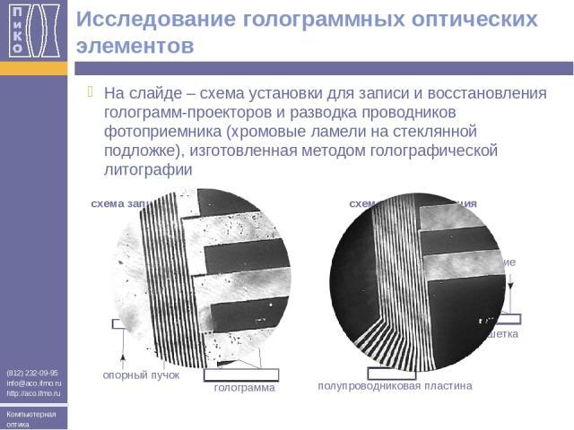 Исследование голограммных оптических элементов На слайде – схема установки для записи и восстановления голограмм-проекторов и разводка проводников фотоприемника (хромовые ламели на стеклянной подложке), изготовленная методом голографической литограф…
