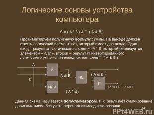 * Логические основы устройства компьютера S = ( А В ) & ¯ ( А & B ) Проанализиру