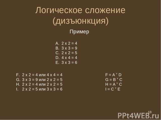 * Логическое сложение (дизъюнкция) Пример 2 х 2 = 4 3 х 3 = 9 2 х 2 = 5 4 х 4 = 4 3 х 3 = 6 2 х 2 = 4 или 4 х 4 = 4 F = A D 3 х 3 = 9 или 2 х 2 = 5 G = B C 2 х 2 = 4 или 2 х 2 = 5 H = A C 2 х 2 = 5 или 3 х 3 = 6 I = С Е * из 20