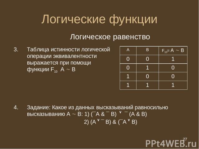 * Логические функции Логическое равенство Таблица истинности логической операции эквивалентности выражается при помощи функции F10 А В Задание: Какое из данных высказываний равносильно высказыванию А В: 1) (¯А & ¯ В) ¯ (A & B) 2) (A ¯ В) & (¯А В) А …