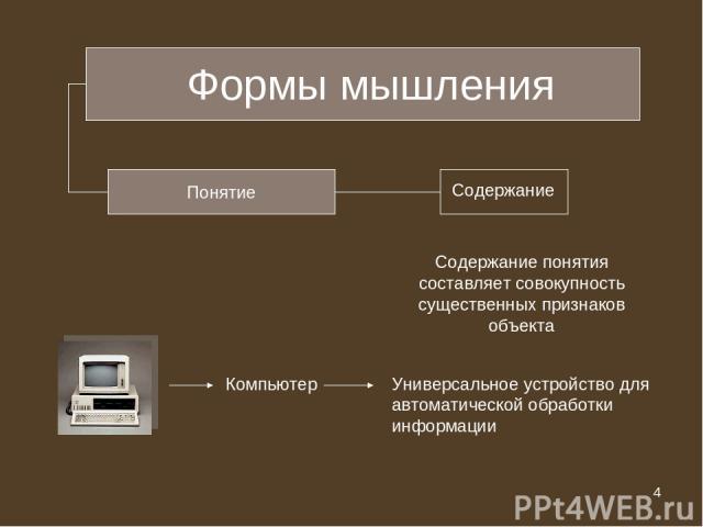 * Формы мышления Понятие Содержание понятия составляет совокупность существенных признаков объекта Компьютер Универсальное устройство для автоматической обработки информации * из 20