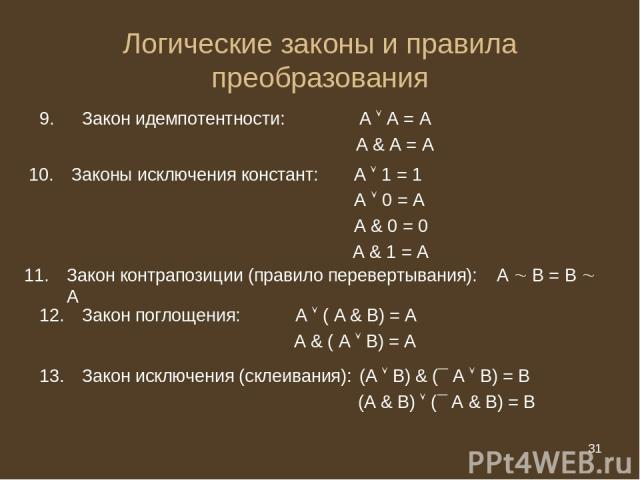 * Логические законы и правила преобразования Закон идемпотентности: А А = А А & А = А Законы исключения констант: А 1 = 1 А 0 = А А & 0 = 0 А & 1 = А Закон контрапозиции (правило перевертывания): А В = В А Закон поглощения: А ( А & В) = А А & ( А В)…