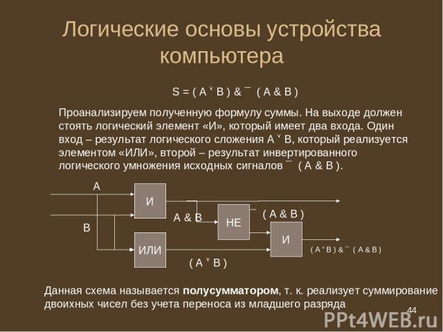 * Логические основы устройства компьютера S = ( А В ) & ¯ ( А & B ) Проанализируем полученную формулу суммы. На выходе должен стоять логический элемент «И», который имеет два входа. Один вход – результат логического сложения А В, который реализуется…