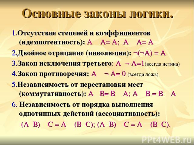 Основные законы логики. 1.Отсутствие степеней и коэффициентов (идемпотентность): А ٨ А= А; А ۷ А= А 2.Двойное отрицание (инволюция): ¬(¬А) = А 3.Закон исключения третьего: А۷¬ А=1(всегда истина) 4.Закон противоречия: А ٨ ¬ А= 0 (всегда ложь) 5.Незав…