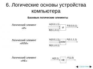 6. Логические основы устройства компьютера Базовые логические элементы Логически