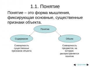 1.1. Понятие Понятие – это форма мышления, фиксирующая основные, существенные пр