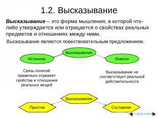 1.2. Высказывание Высказывание – это форма мышления, в которой что-либо утвержда