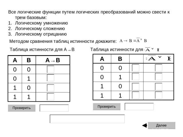 Все логические функции путем логических преобразований можно свести к трем базовым: Логическому умножению Логическому сложению Логическому отрицанию Методом сравнения таблиц истинности докажите: Таблица истинности для A→B Таблица истинности для A B …