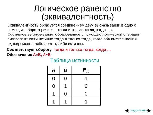 Логическое равенство (эквивалентность) Эквивалентность образуется соединением двух высказываний в одно с помощью оборота речи «… тогда и только тогда, когда …». Составное высказывание, образованное с помощью логической операции эквивалентности истин…