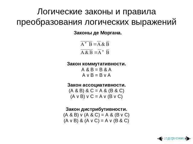 Логические законы и правила преобразования логических выражений Законы де Моргана. Закон коммутативности. A & B = B & A A v B = B v A Закон ассоциативности. (A & B) & C = A & (B & C) (A v B) v C = A v (B v C) Закон дистрибутивности. (A & B) v (A & C…