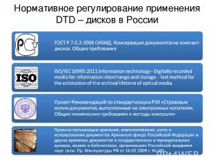 Нормативное регулирование применения DTD – дисков в России