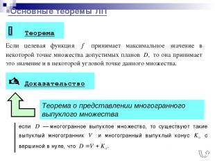 Основные теоремы ЛП 1 Теорема Доказательство Теорема о представлении многогранно