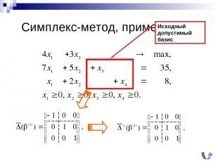 Симплекс-метод, пример (0) Исходный допустимый базис