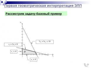 Первая геометрическая интерпретация ЗЛП x2 0 x1 0 Рассмотрим задачу-базовый