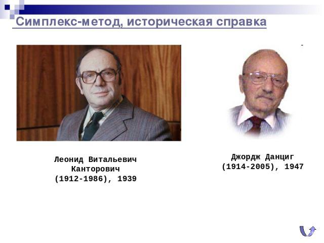 Симплекс-метод, историческая справка Джордж Данциг (1914-2005), 1947 Леонид Витальевич Канторович (1912-1986), 1939