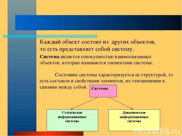 * Система является совокупностью взаимосвязанных объектов, которые называются элементами системы. Состояние системы характеризуется ее структурой, то есть составом и свойствами элементов, их отношениями и связями между собой. Каждый объект состоит и…