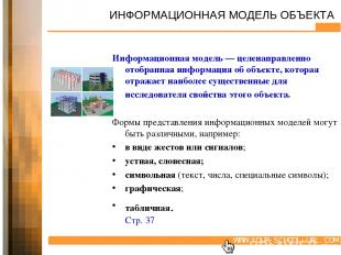 ИНФОРМАЦИОННАЯ МОДЕЛЬ ОБЪЕКТА Информационная модель — целенаправленно отобранная