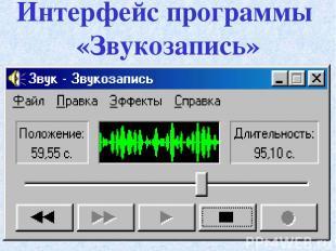 Интерфейс программы «Звукозапись»
