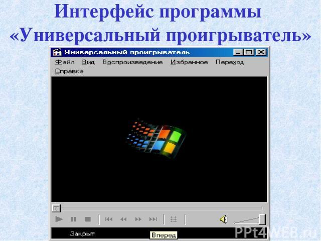 Интерфейс программы «Универсальный проигрыватель»