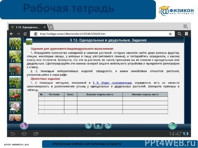 Рабочая тетрадь © ООО «ФИЗИКОН», 2012 Электронные учебники для мобильных устройств