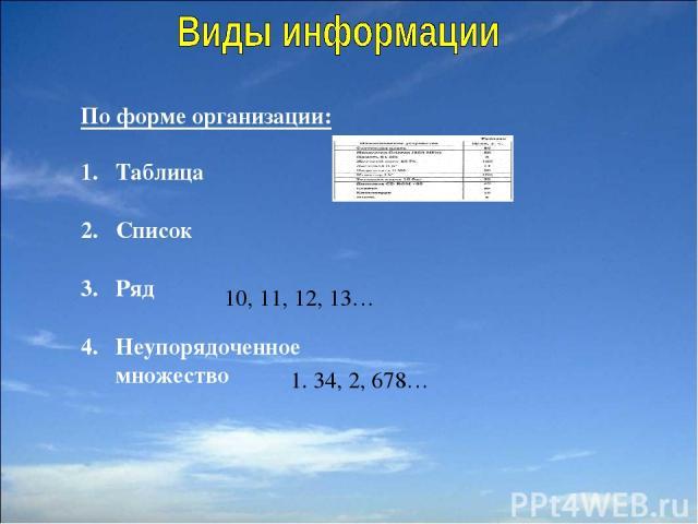 По форме организации: Таблица Список Ряд Неупорядоченное множество 10, 11, 12, 13… 1. 34, 2, 678…