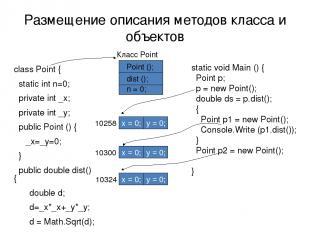 Размещение описания методов класса и объектов class Point { static int n=0; priv
