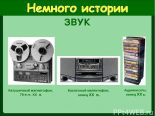 Катушечный магнитофон, 70-е гг. XX в. Кассетный магнитофон, конец XX в. Аудиокас