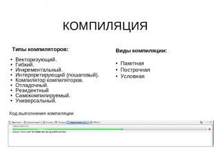 Ход выполнения компиляции Типы компиляторов: Векторизующий. Гибкий. Инкременталь