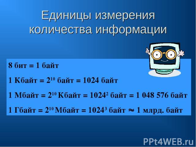 Единицы измерения количества информации 8 бит = 1 байт 1 Кбайт = 210 байт = 1024 байт 1 Мбайт = 210 Кбайт = 10242 байт = 1 048 576 байт 1 Гбайт = 210 Мбайт = 10243 байт 1 млрд. байт