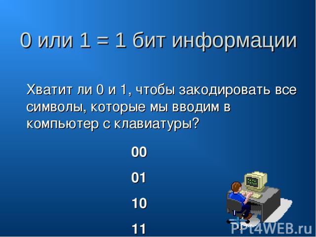 0 или 1 = 1 бит информации Хватит ли 0 и 1, чтобы закодировать все символы, которые мы вводим в компьютер с клавиатуры? 00 01 10 11