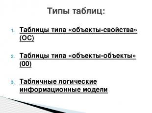 Таблицы типа «объекты-свойства» (ОС) Таблицы типа «объекты-объекты» (00) Табличн