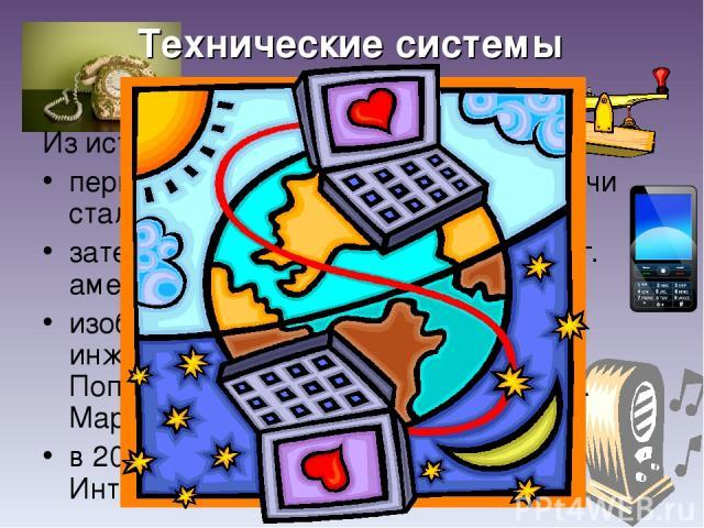 Технические системы передачи информации Из истории: первой технической системой передачи стал телеграф (1837 г.); затем был изобретен телефон (1876 г. американец Александр Белл); изобретение радио (1895 г. Русский инженер Александр Степанович Попов.…
