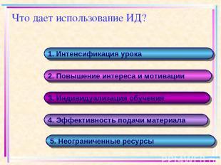 Что дает использование ИД? 1. Интенсификация урока 2. Повышение интереса и мотив