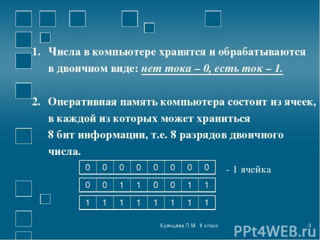 Куянцева Л.М. 8 класс * Числа в компьютере хранятся и обрабатываются в двоичном виде: нет тока – 0, есть ток – 1. Оперативная память компьютера состоит из ячеек, в каждой из которых может храниться 8 бит информации, т.е. 8 разрядов двоичного числа. …