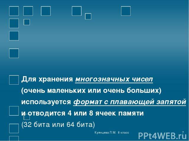 Куянцева Л.М. 8 класс * Для хранения многозначных чисел (очень маленьких или очень больших) используется формат с плавающей запятой и отводится 4 или 8 ячеек памяти (32 бита или 64 бита) Куянцева Л.М. 8 класс