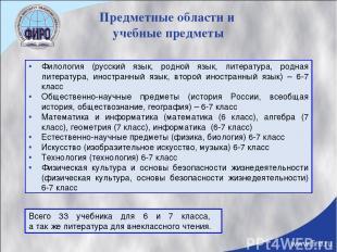 Предметные области и учебные предметы Филология (русский язык, родной язык, лите