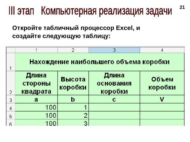 * Откройте табличный процессор Excel, и создайте следующую таблицу: