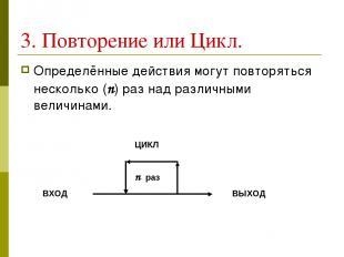 3. Повторение или Цикл. Определённые действия могут повторяться несколько (n) ра