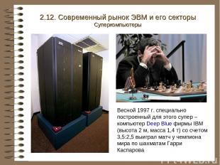 2.12. Современный рынок ЭВМ и его секторы Суперкомпьютеры Весной 1997 г. специал