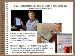 В ноябре 2002 г. корпорация Microsoft объявила о начале продаж нового типа планш
