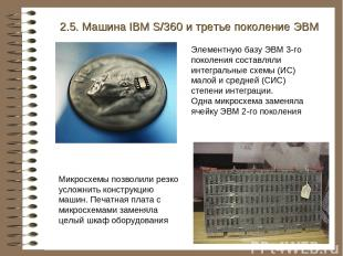 2.5. Машина IBM S/360 и третье поколение ЭВМ Элементную базу ЭВМ 3-го поколения
