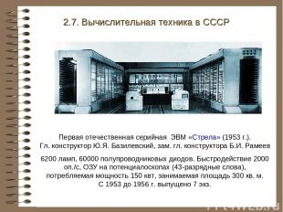 Первая отечественная серийная ЭВМ «Стрела» (1953 г.). Гл. конструктор Ю.Я. Базил