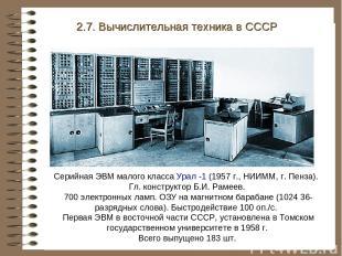 Серийная ЭВМ малого класса Урал -1 (1957 г., НИИММ, г. Пенза). Гл. конструктор Б