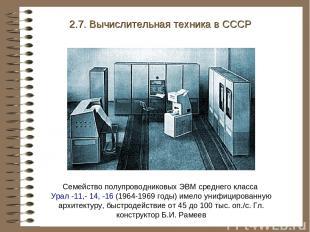 2.7. Вычислительная техника в СССР Семейство полупроводниковых ЭВМ среднего клас