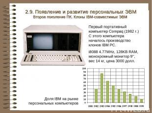 Первый портативный компьютер Compaq (1982 г.) С этого компьютера началось произв